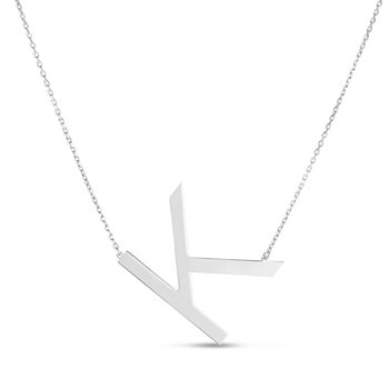 "Sterling Silver ""K"" Initial Necklace"