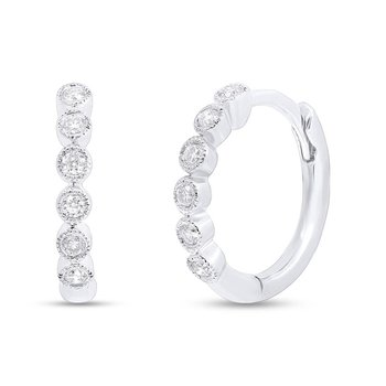 14k White Gold Diamond Huggie Earrings