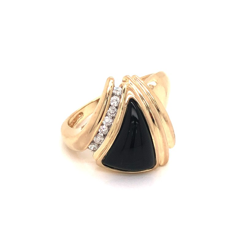 Cline Estate Onyx and Diamond Ring