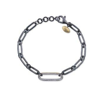 24k Yellow Gold and Oxidized Silver Link Diamond Bracelet