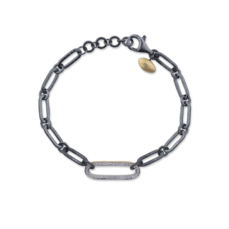 Cline 24k Yellow Gold and Oxidized Silver Link Diamond Bracelet