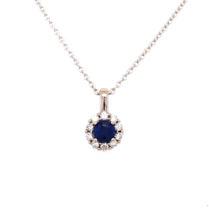 Cline Custom Sapphire and Diamond Halo Pendant
