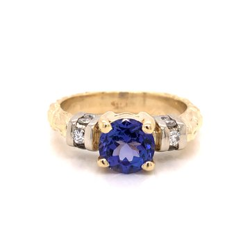 Estate Tanzanite and Diamond Ring