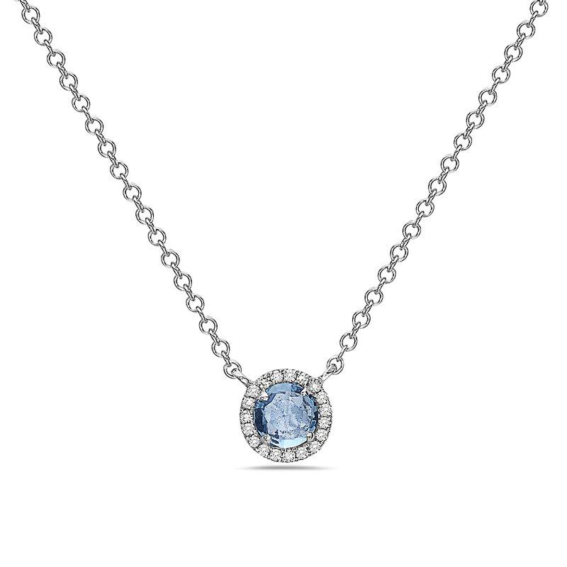 Cline 14k White Gold Blue Topaz and Diamond Necklace