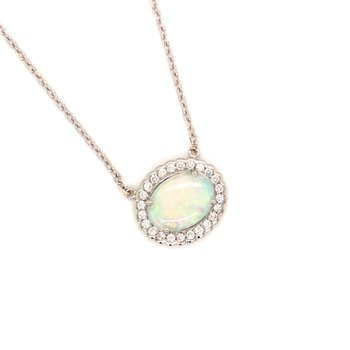 Cline Custom Opal and Diamond Necklace
