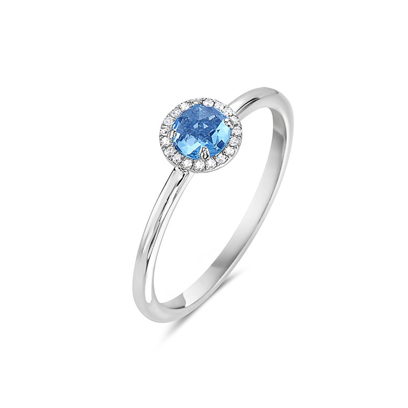 Cline 14k White Gold Blue Topaz and Diamond Ring