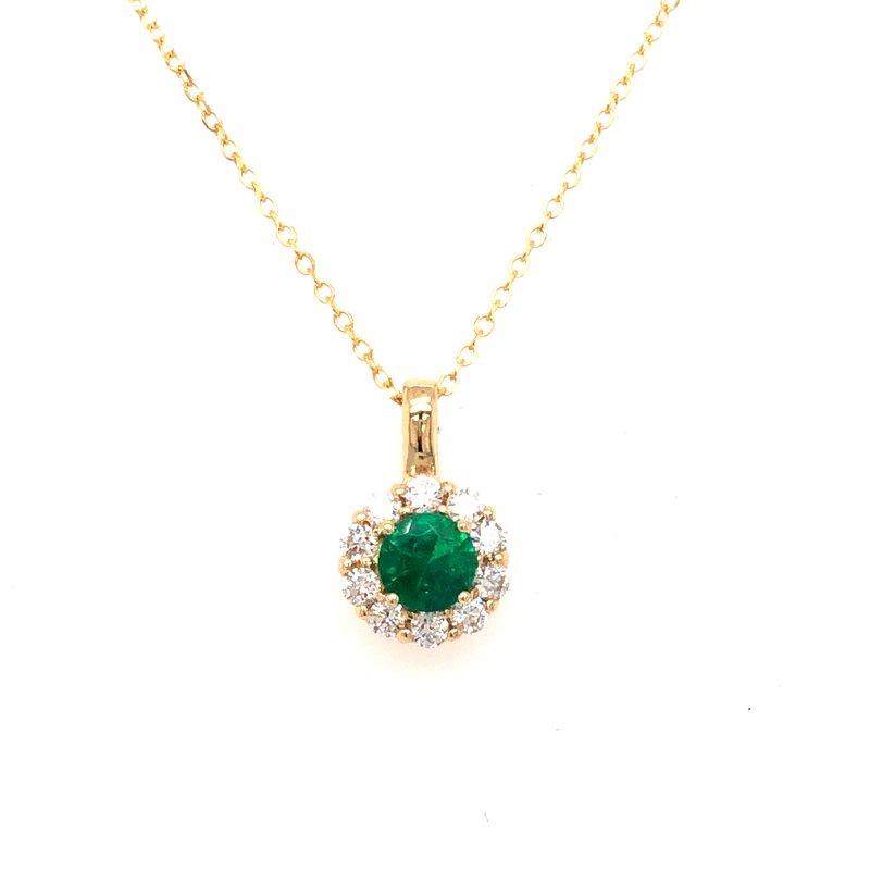 Cline Custom Emerald and Diamond Halo Pendant