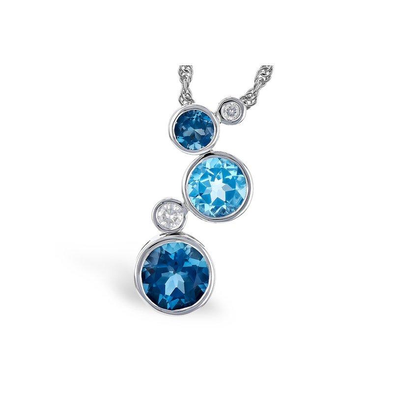 Cline Blue Topaz and Diamond Pendant