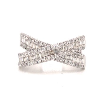 Crossed Baguette and Round Diamond Ring