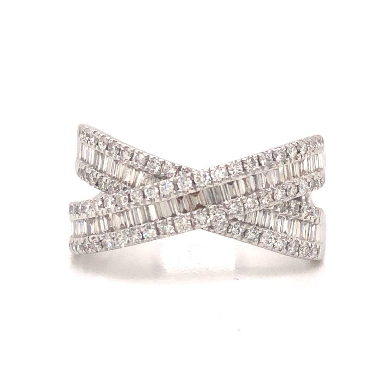Cline Crossed Baguette and Round Diamond Ring