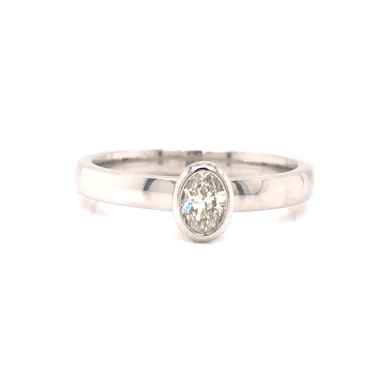 Cline Custom Bezel Set Oval Diamond Ring