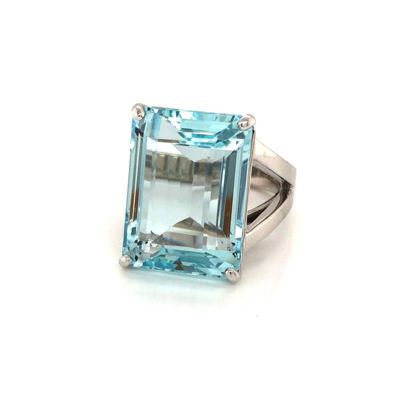 Cline Custom 14k White Gold Aquamarine Ring
