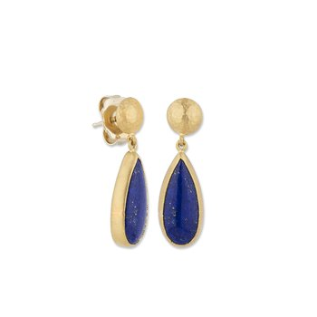24k Yellow Gold Lapis Earrings