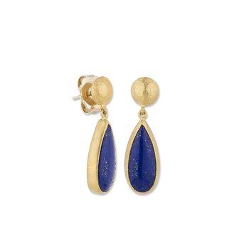 24k Yellow Gold Lapis Earrings