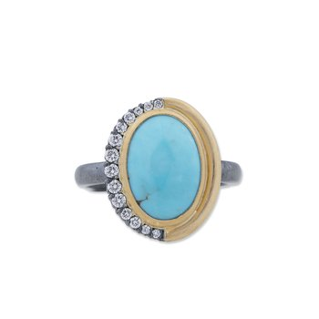 Mixed Metal Turquoise and Diamond Ring