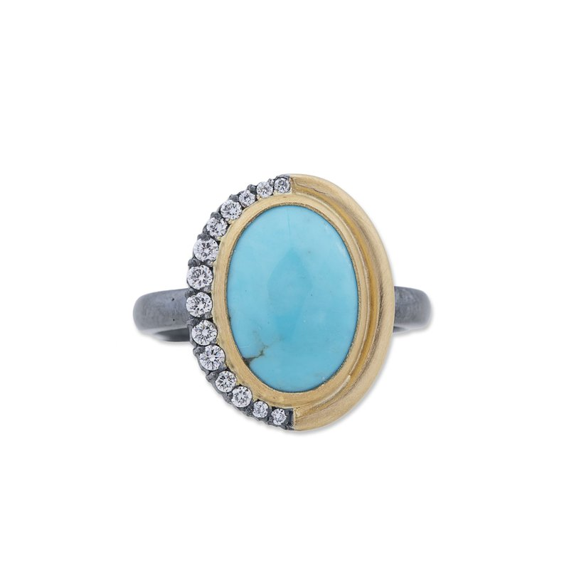 Cline Mixed Metal Turquoise and Diamond Ring