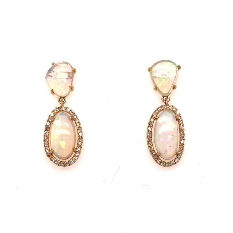 Cline Opal and Diamond Dangle Earrings