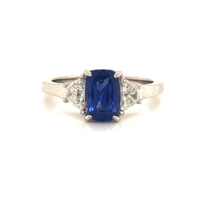 Cline Custom Blue Sapphire and Diamond Ring