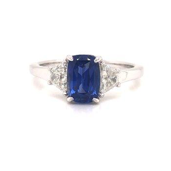 Blue Sapphire and Diamond Ring