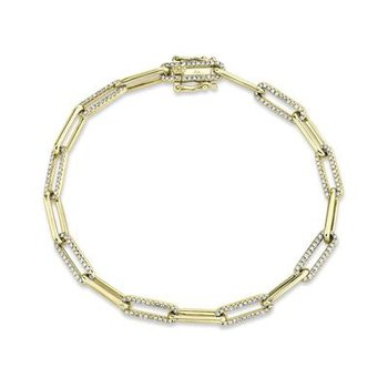 14k Yellow Gold and Diamond Paperclip Bracelet
