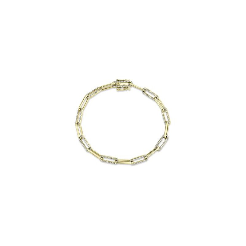 Cline 14k Yellow Gold and Diamond Paperclip Bracelet