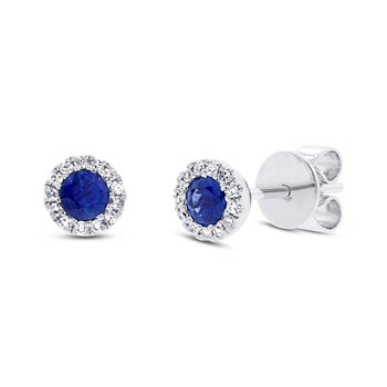 Diamond and Blue Sapphire Earrings