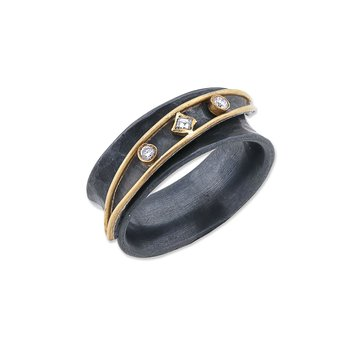 24k Gold and Oxidized Silver Ring