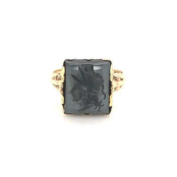 Estate Intaglio Hematite Ring