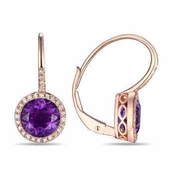 14k Rose Gold Amethyst and Diamond Earrings