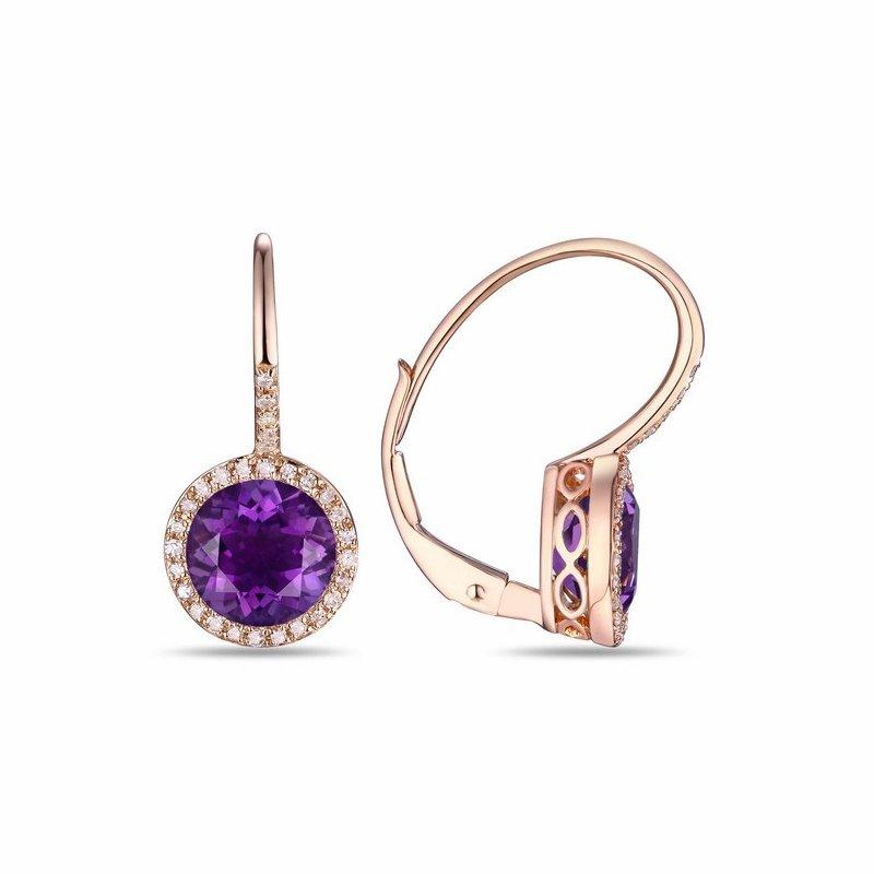 Cline 14k Rose Gold Amethyst and Diamond Earrings