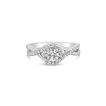 Twist Diamond Halo Ring