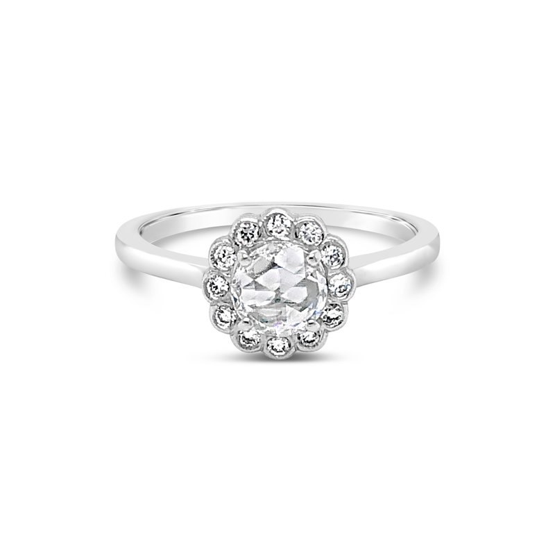 Cline Custom Rose Cut Diamond Halo Ring
