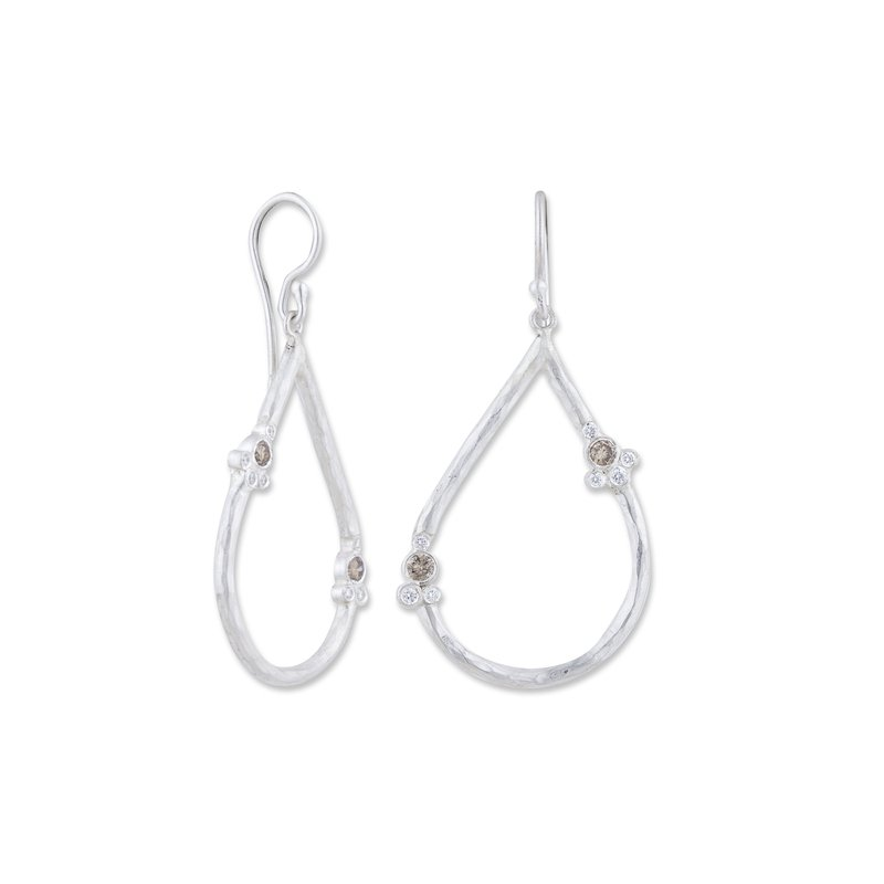 Cline Sterling Silver and Diamond Earrings