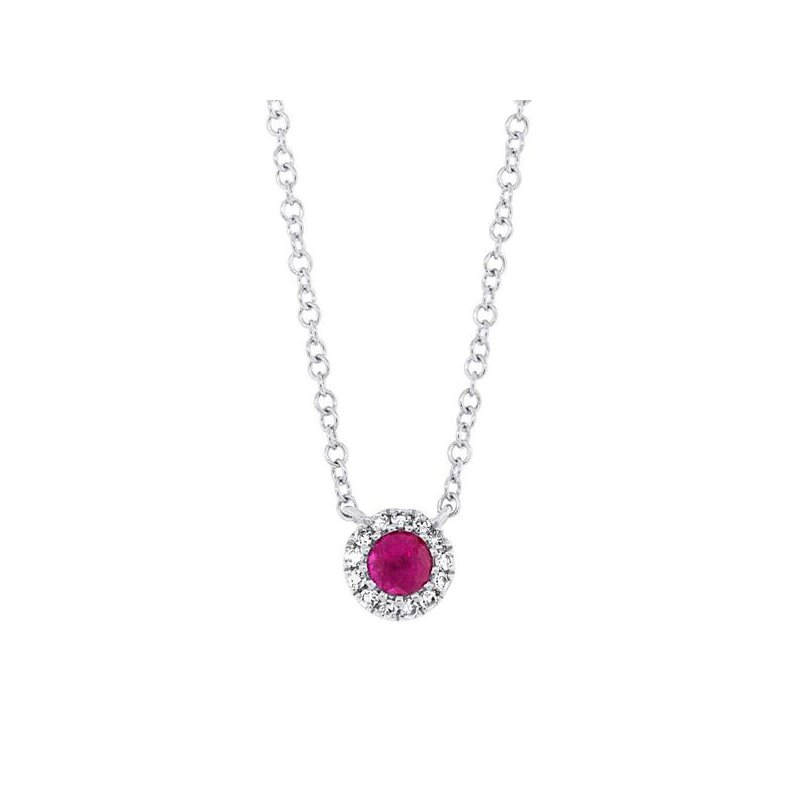 Cline 14k White Gold Ruby and Diamond Necklace