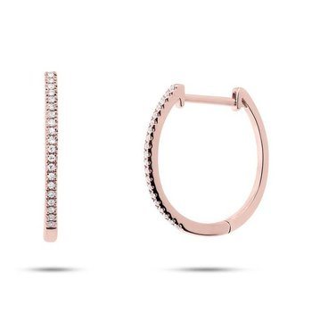 14k Rose Gold Diamond Oval Hoop Earrings