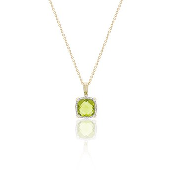 14k Two-Tone Peridot and Diamond Necklace