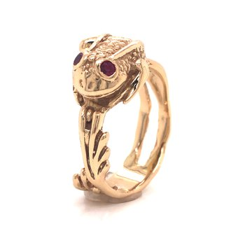 Estate Fashion Frog Ring with Rubies