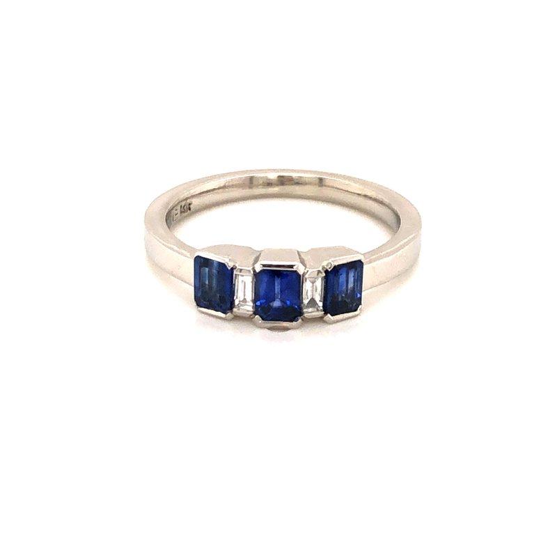 Cline Custom 14k White Gold Sapphire and Diamond Ring