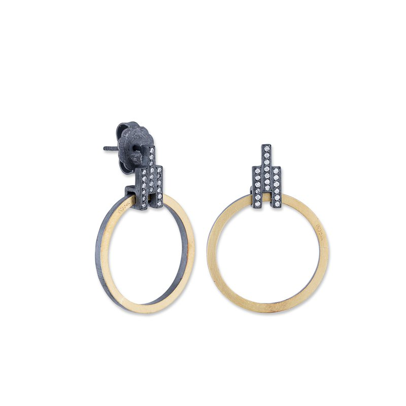 Cline 24k Gold and Oxidized Silver Earrings