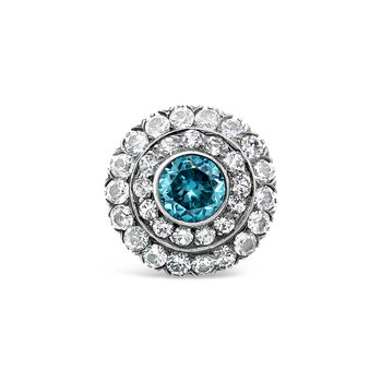 Estate Blue Zircon and White Sapphire Ring