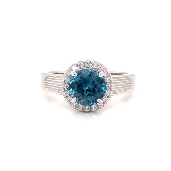 Cline Custom Blue Zircon and Diamond Ring