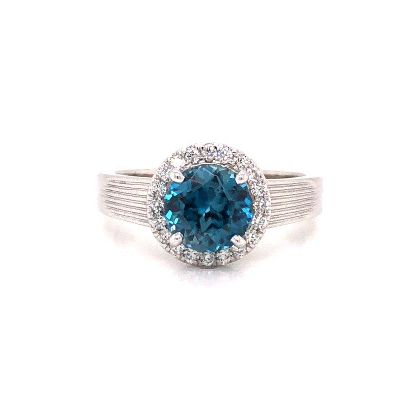 Cline Custom Blue Zircon and Diamond Halo Ring