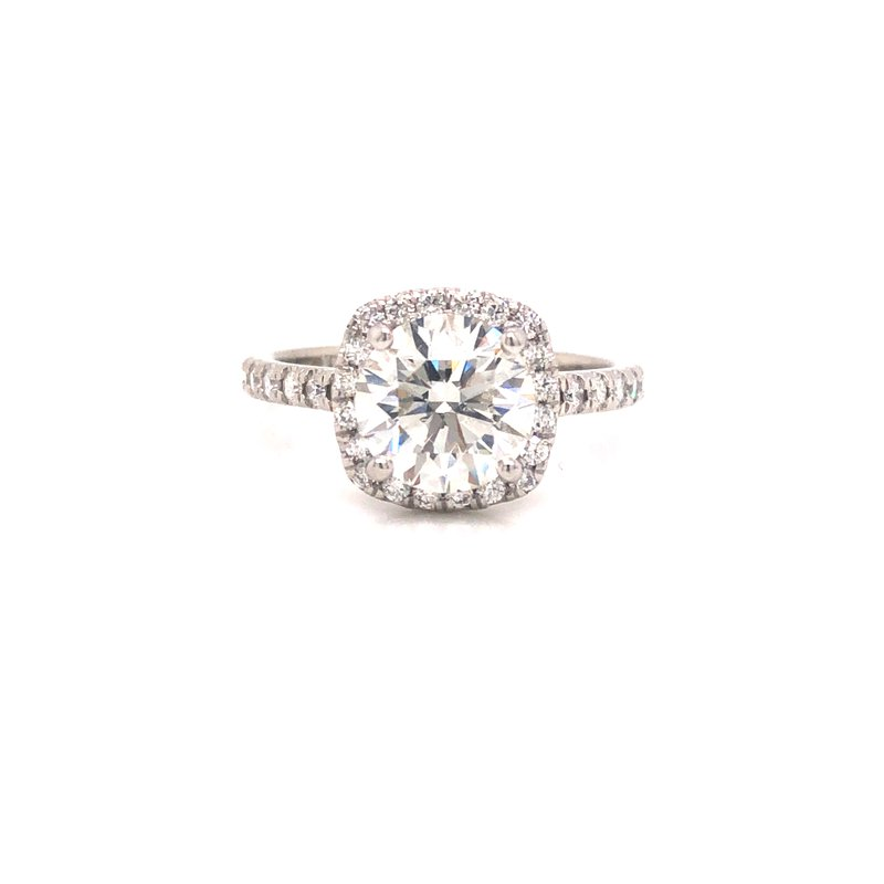 Cline Custom Round Brilliant Cut Halo Ring