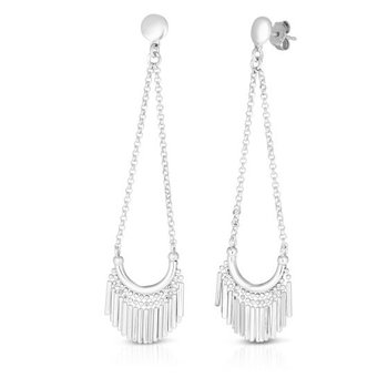 Sterling Silver Diamond Cut Dangle Earrings
