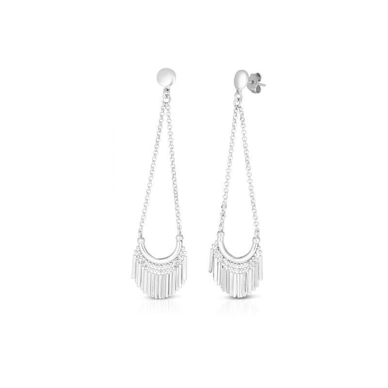 Cline Sterling Silver Diamond Cut Dangle Earrings