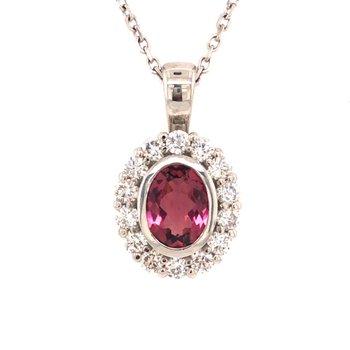 Pink Tourmaline and Diamond Halo Pendant