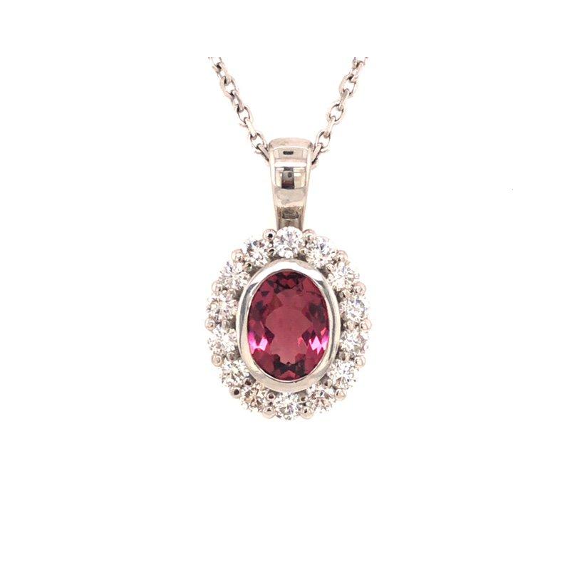 Cline Custom Pink Tourmaline and Diamond Halo Pendant