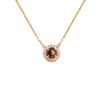 Cognac Diamond Halo Pendant