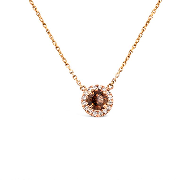 Cline Custom Cognac Diamond Halo Pendant