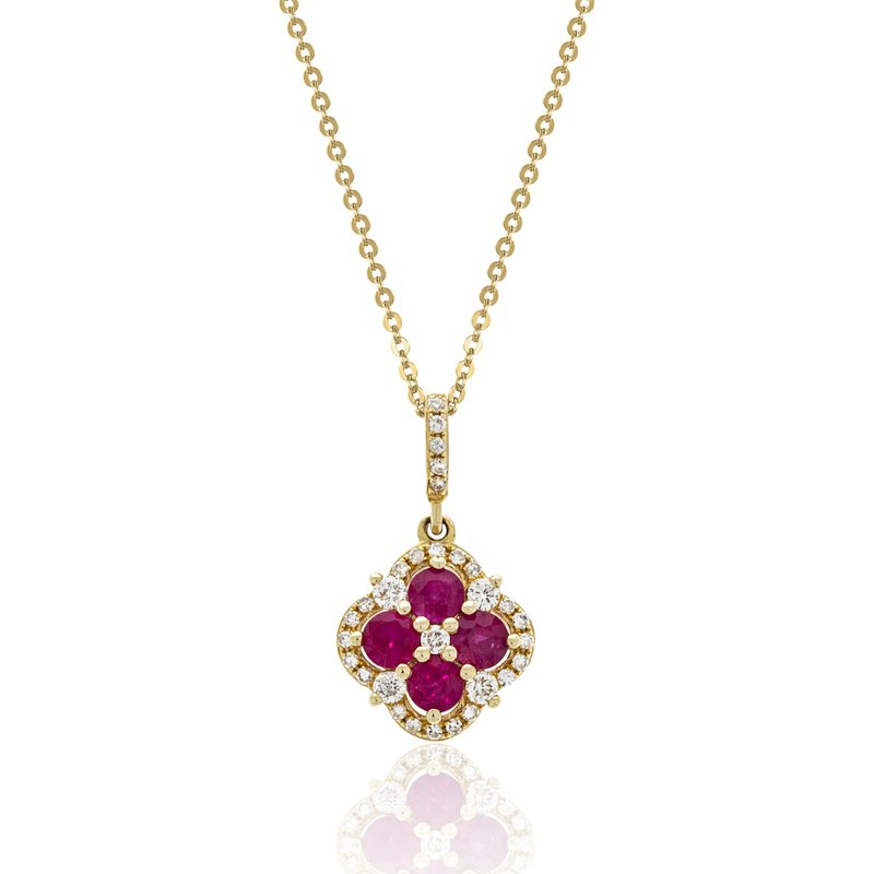 Cline 14k Yellow Gold Ruby and Diamond Pendant